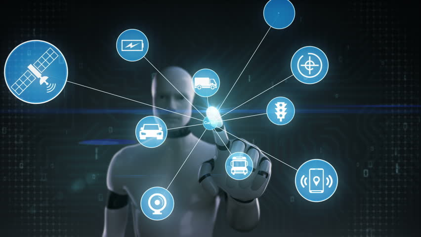 Robot, cyborg touching screen, Car internet of things technology icon connect global world map, dots makes world map. internet of things.2. | Shutterstock HD Video #28080688