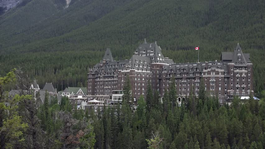 A large hotel in the rocky mountains