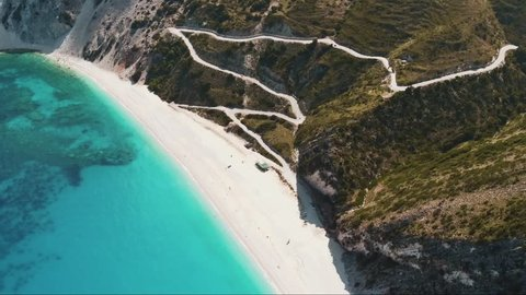 Aerial view showing the white Myrtos Beach in Kefalonia (Greece). Filmed by drone.