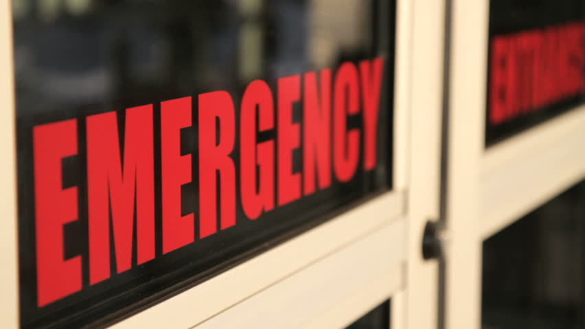 Emergency Room doors close - red letters of emergency appear on screen. This clip can also be played in reverse to make the doors open.