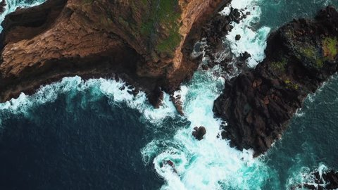 Aerial view of rock formation at Porto Moniz, Madeira (Portugal) by drone