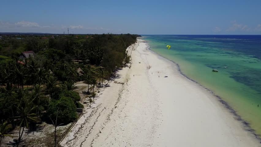 Diani Beach, Kenya Aerial flight over beach