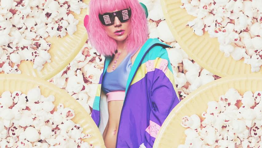 Girl DJ on popcorn background Vanilla party style