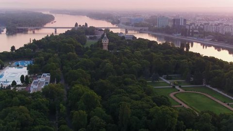 Aerial view of the Margaret Island in Budapest sunrise