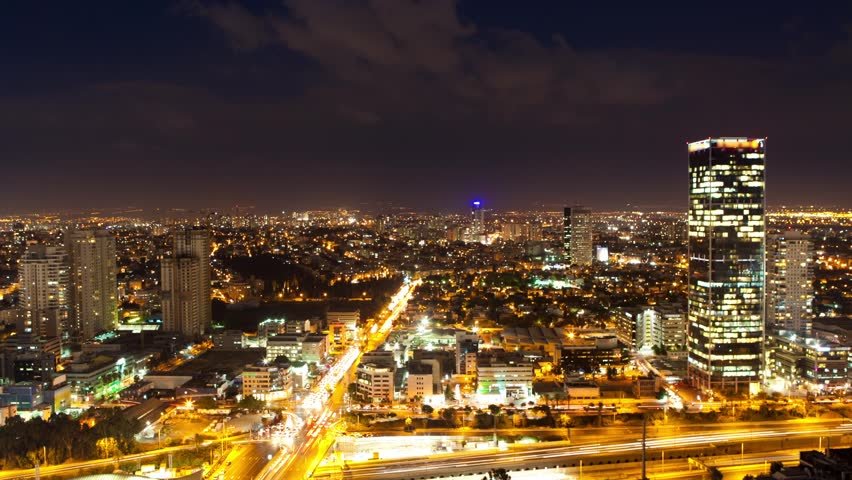 Tel Aviv Skyline From Day to Night - Time Lapse | Shutterstock HD Video #2812291