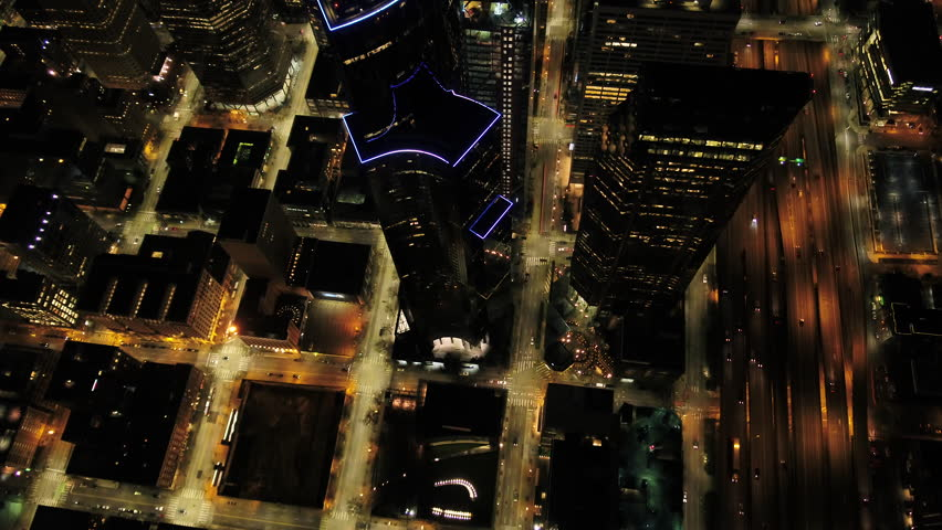 Seattle Aerial v89 Vertical birdseye view flying over downtown at night 4/17