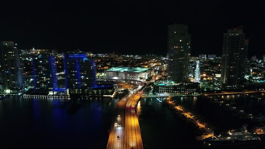 MIAMI BEACH, FL, USA - JUNE 22, 2017: Aerial drone video Miami Beach Macarthur Causeway to 5th Street 4k 24p | Shutterstock HD Video #28153078