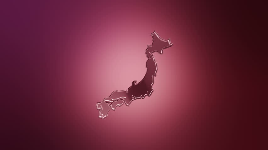 D Animation Rotation Of Symbol Of Japan Map From Glass Animation - Japan map hd