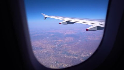 View out of a plane window over Spain