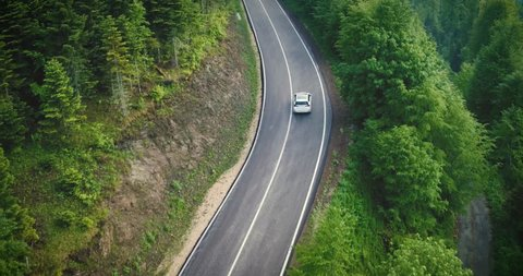Aerial view of car driving through the forest on country road, Yedigoller, Turkey, 2017