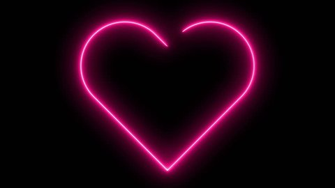 Bright neon sign heart. Retro neon heart sign on black. Design element for Happy Valentine's Day. For greeting card, banner, signboard. Available in 4K video render footage.