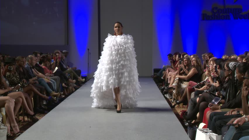 NEW YORK - SEPTEMBER 17: Model walks runway at the Ariel Cedeno show at Waldorf Astoria for S/S 2013 during Couture Fashion Week on September 17, 2012 in New York City, NY