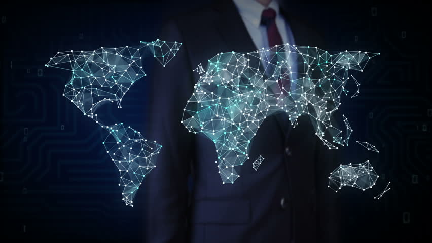 Numbers and symbols form the world map on dark blue background 4k businessman touching screen car internet of things technology icon connect global world map dots sciox Image collections