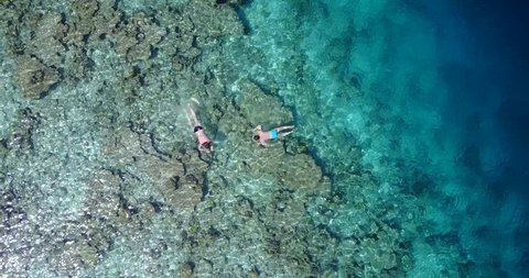 v06472 Aerial flying drone view of Maldives white sandy beach young people snorkeling swimming underwater on sunny tropical paradise island with aqua blue sky sea water ocean 4k