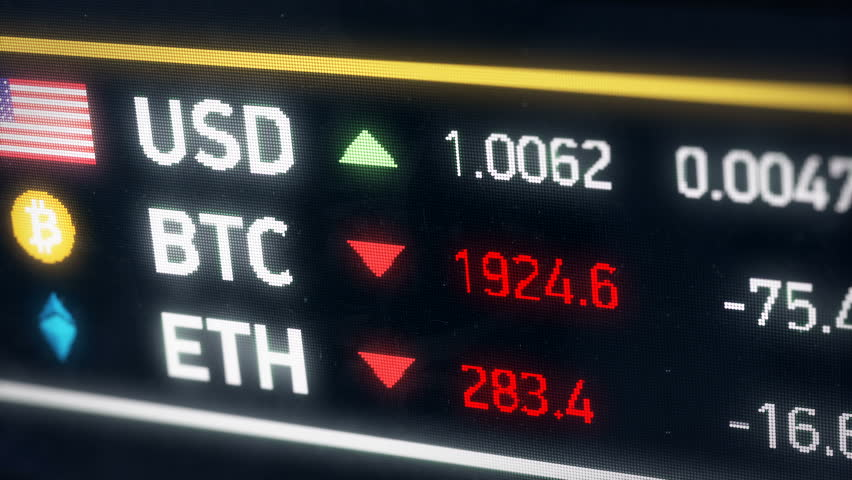 Bitcoin, US dollar, Ether comparison, cryptocurrencies falling, financial crisis. The price of digital currencies falling compared to American dollar | Shutterstock HD Video #28268788