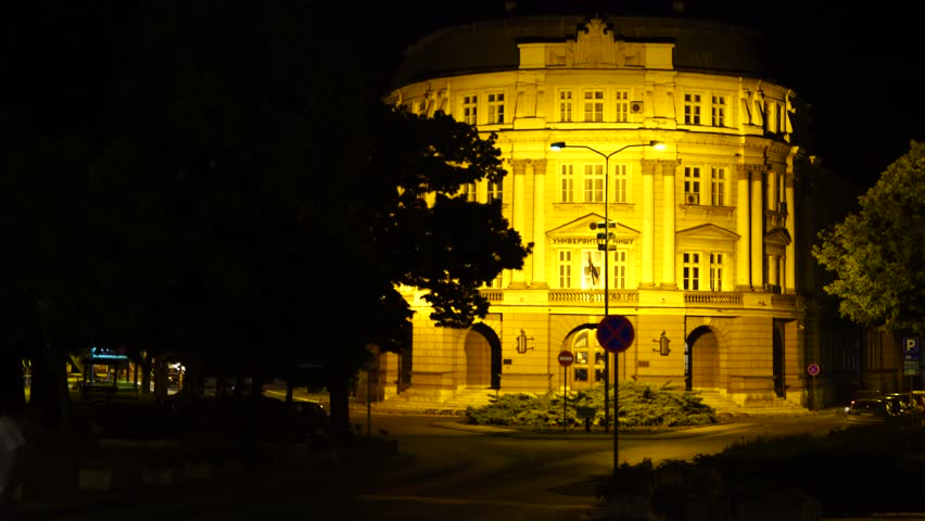 Banovina building in the center of Nis, shot at night. Once used as a temporary government residence, it now serves as a headquarters of The University of Nis. Shot in Nis, Serbia.