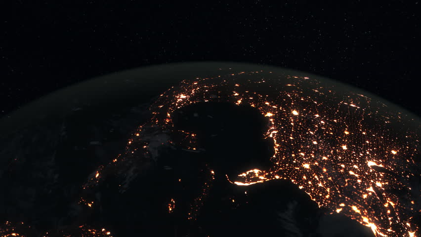 Loopable: Earth from Space. Simulated orbital space flight over the surface of the night planet Earth (America, Gulf of Mexico, Australia, Oceania and Africa).