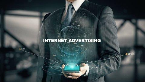 Businessman with Internet Advertising hologram concept
