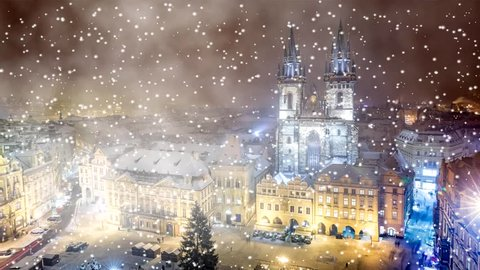 Snowfall in Prague. Christmas atmosphere on Wenceslas Square. Falling snow on Old Town Square. Czech republic