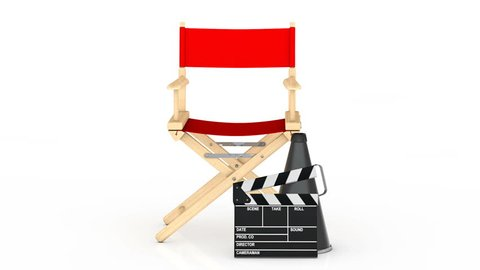 Cinema Industry Concept. Red Director Chair, Movie Clapper and Megaphone Rotating on a white background