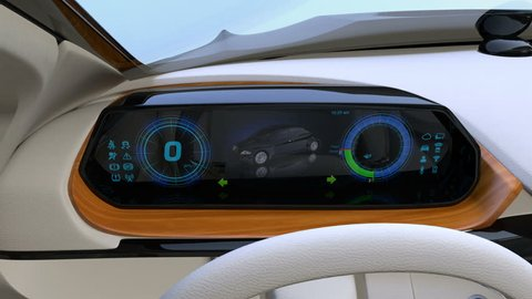 Autonomous car interior concept. Wooden tray near dashboard could charging smartphone by wireless recharging technology.  3D rendering animation.