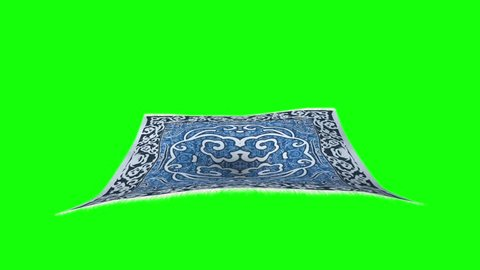 Flying Carpet Front Green Screen 3D Rendering Animation