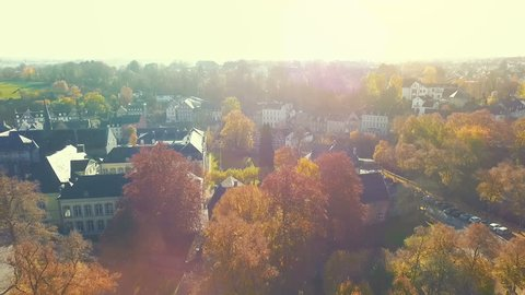 aerial view on historic small village named Kornelimuenster near aachen, germany on a bright sunny autumn day.