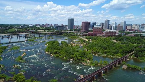RICHMOND, VA, USA - JUNE 28, 2017: Aerial drone video Downtown Richmond Virginia 4k James River