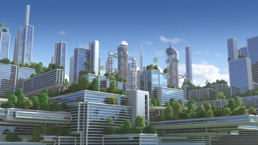 Animated Green Buildings : Loop animation with wormhole interstellar travel through a