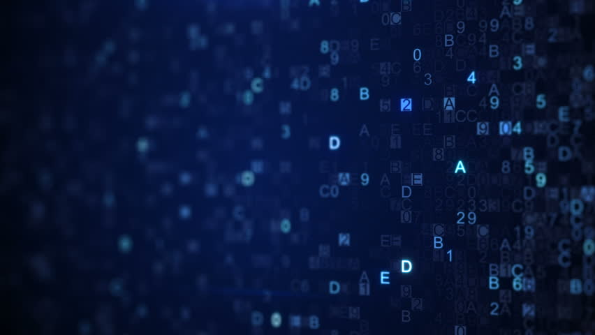 Scanning digital data blue hex code. Abstract information technology concept. Computer generated seamless loop animation. Rendered with DOF 4k UHD (3840x2160)