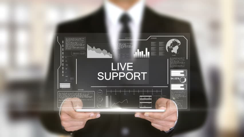 Live Support, Hologram Futuristic Interface, Augmented Virtual Reality | Shutterstock HD Video #28486858
