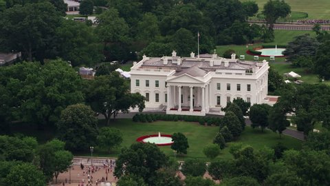 Washington, D.C. circa-2017, Aerial view of White House. Shot with Cineflex and RED Epic-W Helium.
