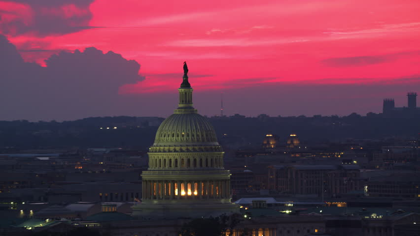 Washington, D.C. circa-2017, Aerial view of US Capitol Dome at sunset. Shot with Cineflex and RED Epic-W Helium.