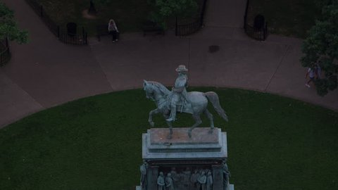 Washington, D.C. circa-2017, Aerial view of Logan Circle and statue of John A. Logan. Shot with Cineflex and RED Epic-W Helium.