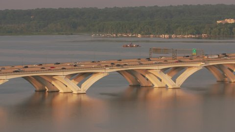 Washington, D.C. circa-2017, Aerial view of the Woodrow Wilson Bridge over the Potomac River. Shot with Cineflex and RED Epic-W Helium.