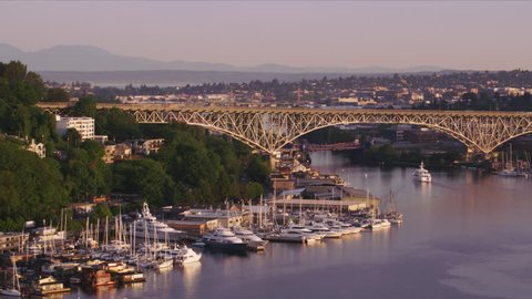 Seattle, Washington circa-2017, Aerial view of George Washington Memorial Bridge and Lake Union. Shot with Cineflex and RED Epic-W Helium.