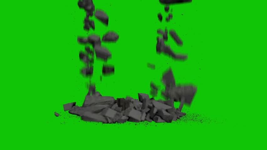 Destruction Falling Rocks Debris Green Stock Footage Video (100%  Royalty-free) 28563358 | Shutterstock
