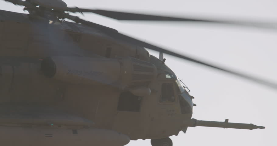 CH-53 helicopter flying in a demonstration during an airshow