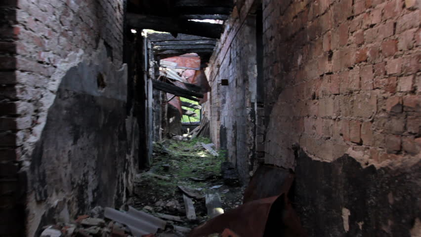 Corridor of the destroyed house.Stabilized camera