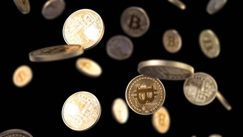 Bitcoins are falling on a black background with a depth of field, beautiful 3d animation, seamless loop. 4K