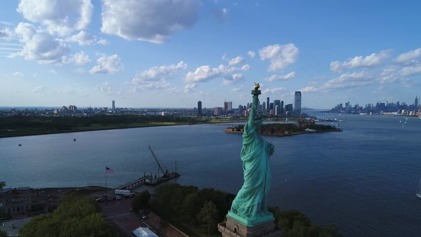 Aerial video tour Statue of Liberty NY drone 4k 60p