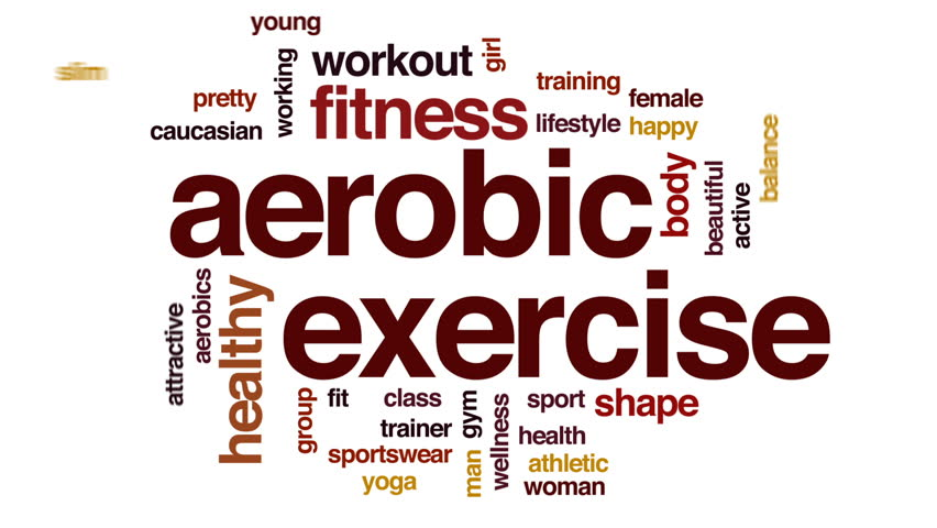Aerobic exercise animated word cloud, text design animation.