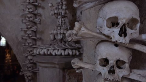 Czech Republic-2010s: Skulls and bones hang from the walls at the Sedlec Ossuary in the Czech Republic.
