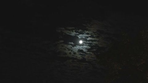 Full moon in the night sky, bright moon, night sky, the motion of clouds in the night sky against the background of a bright moon, Clouds in the night sky against a bright moon, timelapse