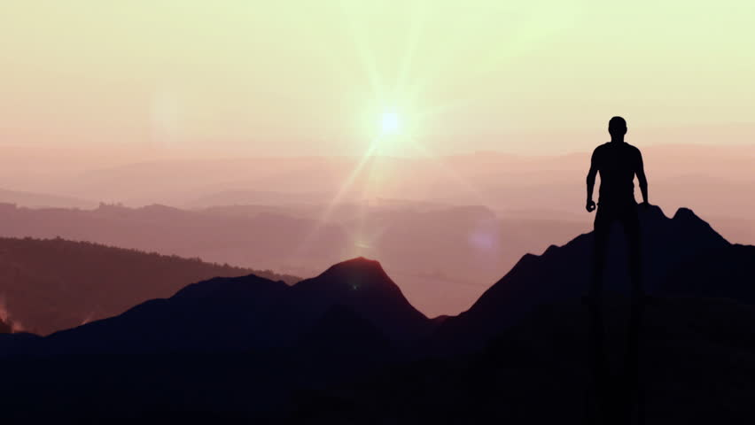 Animated CGI silhouette in a victory pose on the peak of a mountain. 4K animation. | Shutterstock HD Video #28699498