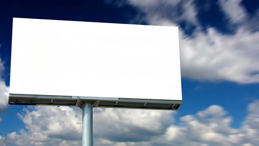 Blank Billboard With Moving Clouds (HD) Stock Footage