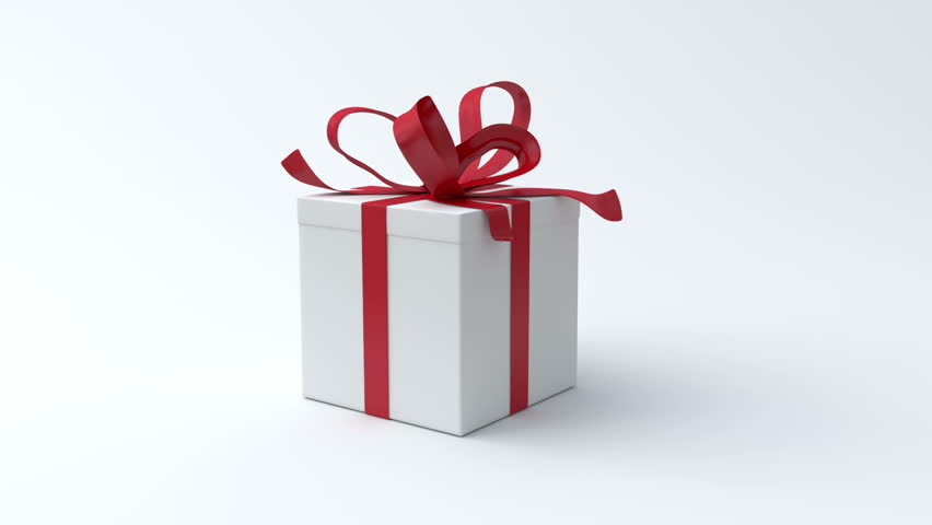 White gift box with red ribbon opening. Include alpha channel and color channel to key individual elements and tracking | Shutterstock HD Video #2871478