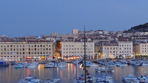 MARSEILLE, FRANCE - CIRCA 2017:  Night Time-lapse Marseille port city southern France Europe
