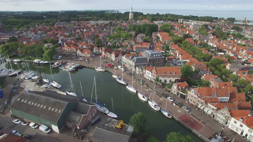 Aerial over city with harbour,Enkhuizen,Netherlands