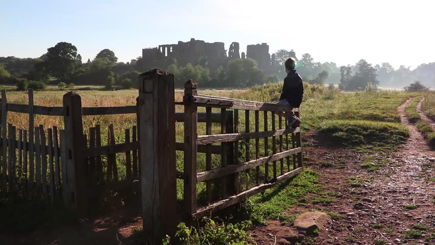 Castle Ruins Barbed Wire Fence Stinging Nettles Focus Shift Close ...